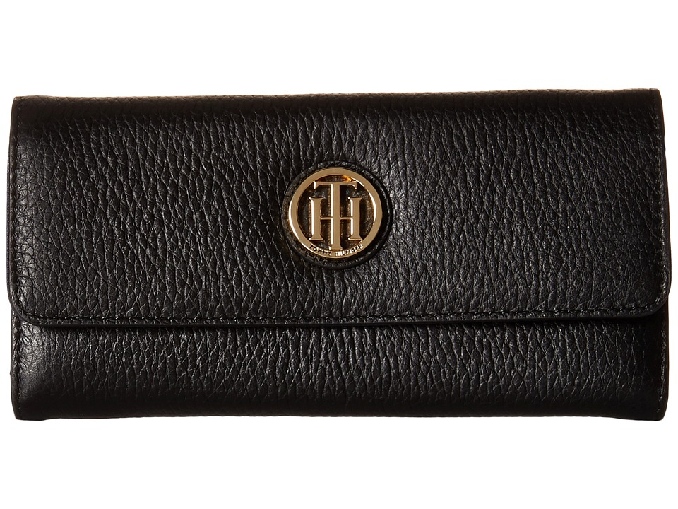 Tommy Hilfiger - TH Serif Signature - Large Flap Wallet (Black) Wallet Handbags