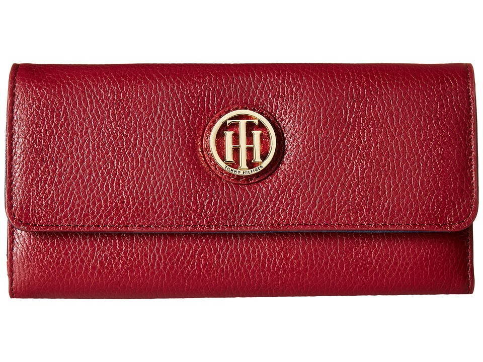 Tommy Hilfiger - TH Serif Signature - Large Flap Wallet (Cabernet) Wallet Handbags