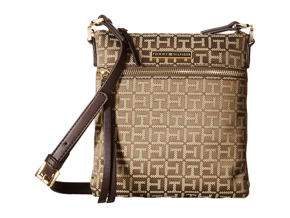 Tommy Hilfiger - Naomi - North/South Crossbody (Tan/Dark Chocolate) Cross Body Handbags