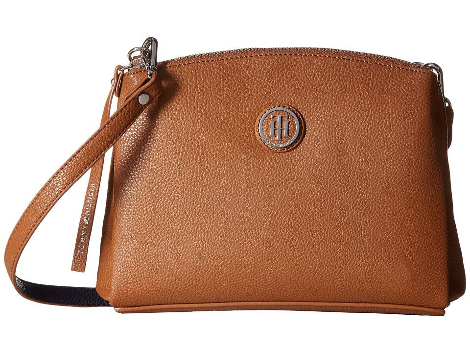 Tommy Hilfiger - Mara - East/West Crossbody (Cognac/Navy) Cross Body Handbags