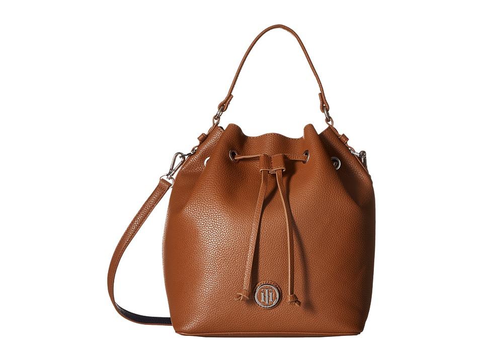 Tommy Hilfiger - Mara - Drawstring Bucket (Cognac/Navy) Handbags