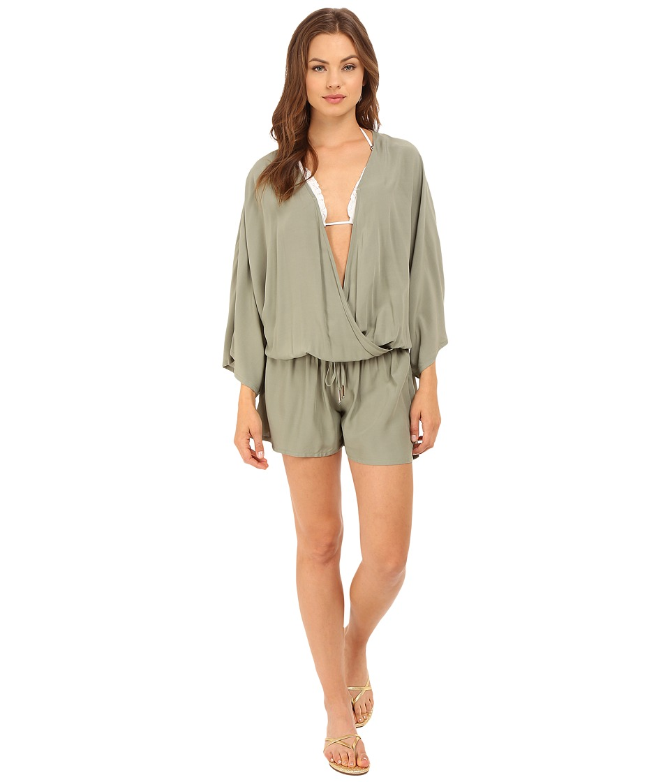 Vince Camuto - Milos Solids Romper w/ Draw String Waist Tie Cover-Up (Sage) Women's Jumpsuit & Rompers One Piece