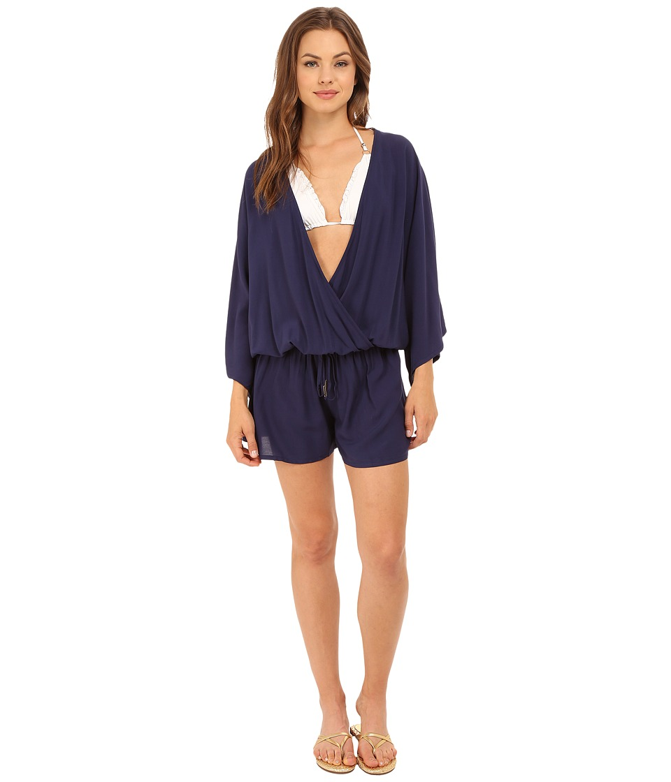 Vince Camuto - Milos Solids Romper w/ Draw String Waist Tie Cover-Up (Navy) Women's Jumpsuit & Rompers One Piece