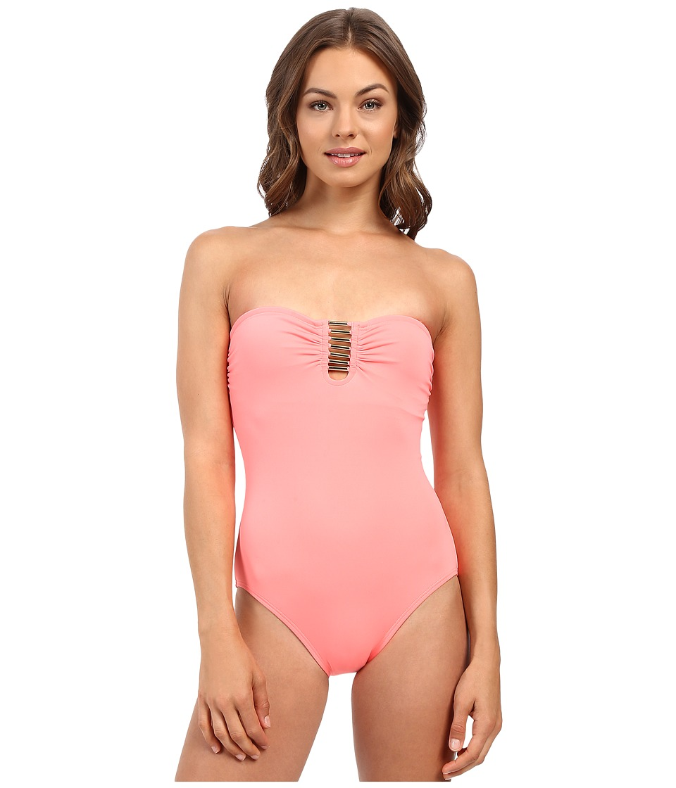 Vince Camuto - Milos Solids Tube Band Maillot w/ Removable Soft Cups (Coral Sugar) Women's Swimsuits One Piece