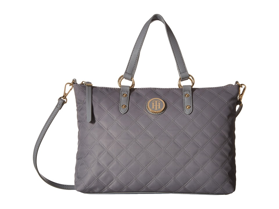 Tommy Hilfiger - TH Quilted - Convertible Top Zip Shopper (Frost Gray) Convertible Handbags