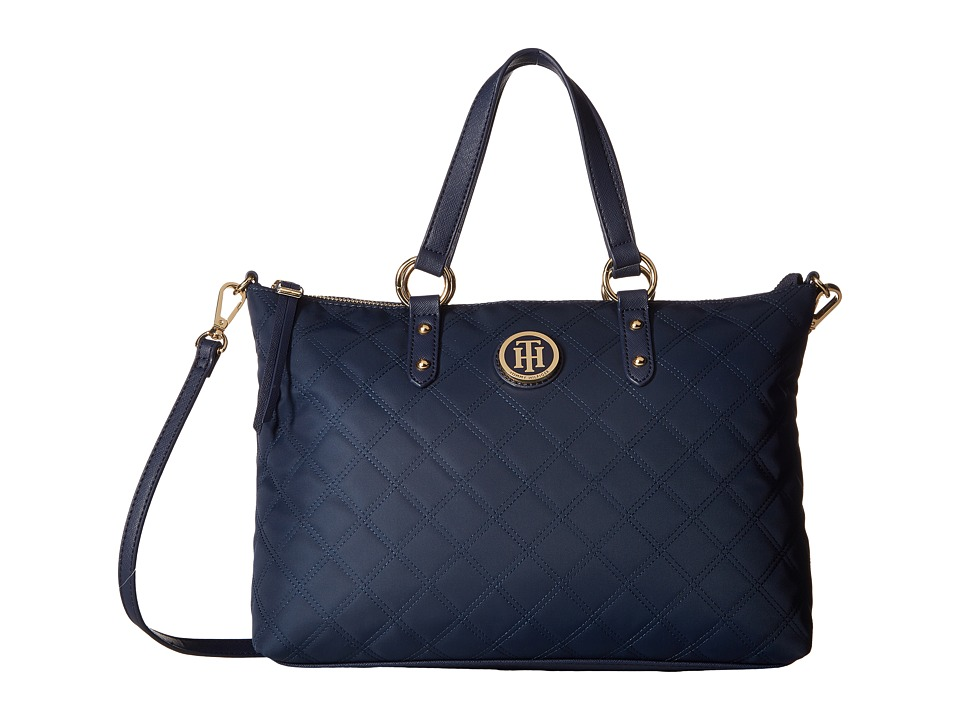 Tommy Hilfiger - TH Quilted - Convertible Top Zip Shopper (Navy) Convertible Handbags