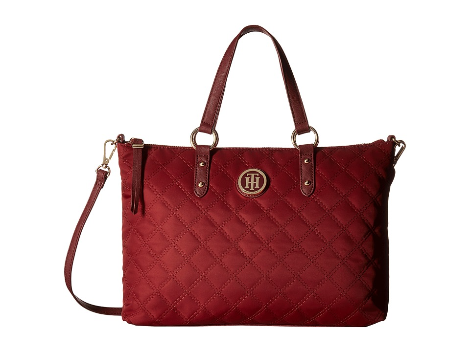 Tommy Hilfiger - TH Quilted - Convertible Top Zip Shopper (Cabernet) Convertible Handbags