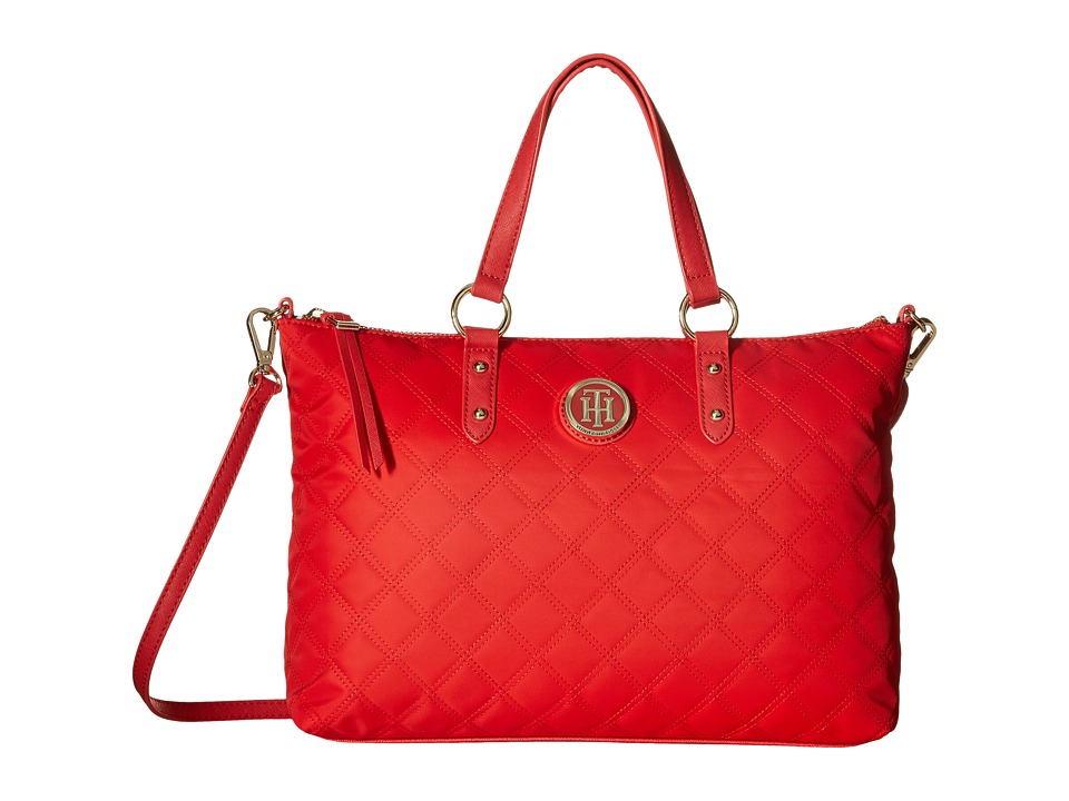 Tommy Hilfiger - TH Quilted - Convertible Top Zip Shopper (Racing Red) Convertible Handbags