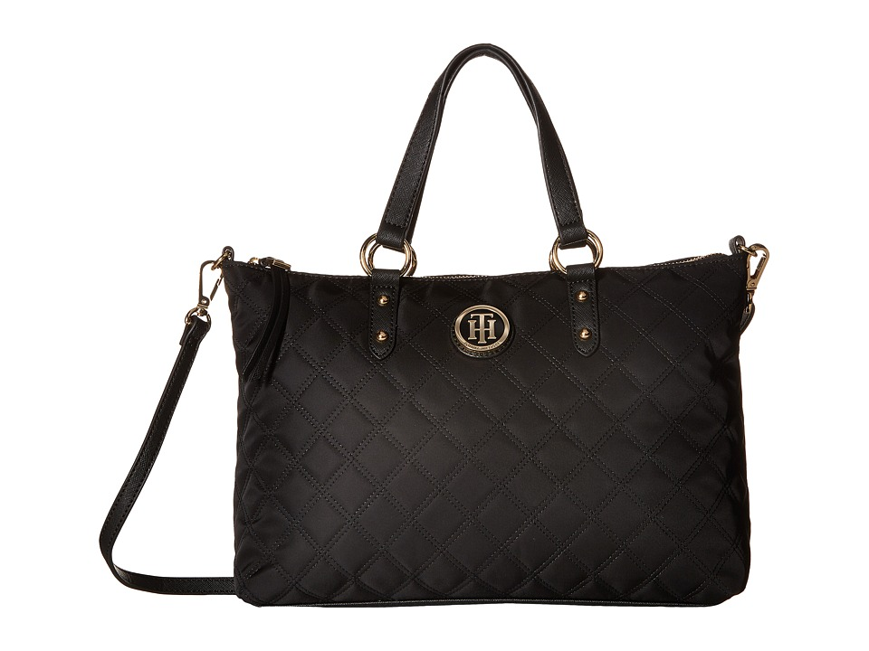 Tommy Hilfiger - TH Quilted - Convertible Top Zip Shopper (Black) Convertible Handbags
