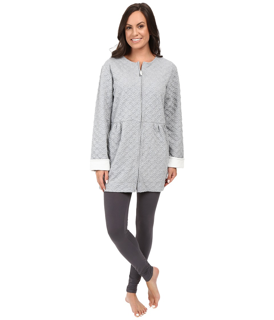Carole Hochman - Quilted Lounge Jacket (Grey Heather) Women's Pajama