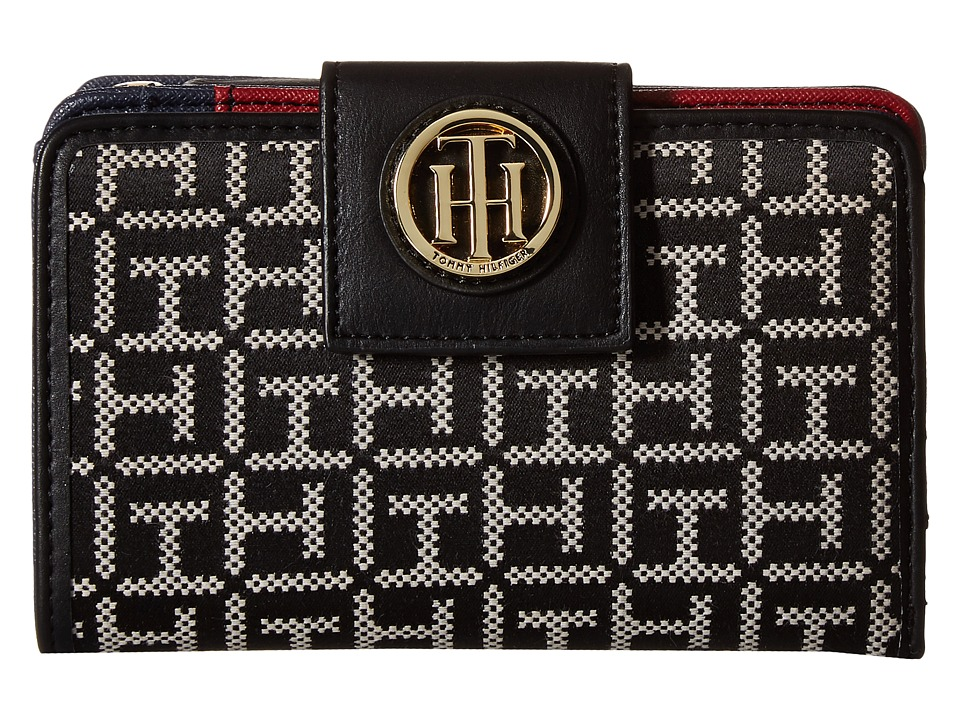 Tommy Hilfiger - TH Serif Signature - Medium Snap Flap Wallet (Black/White) Wallet Handbags