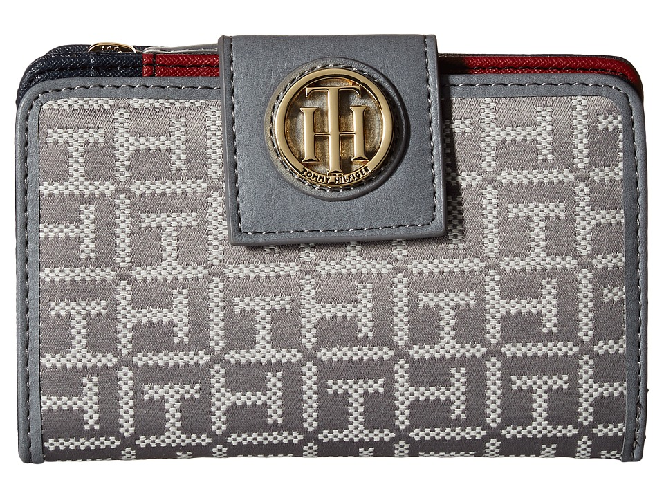 Tommy Hilfiger - TH Serif Signature - Medium Snap Flap Wallet (Gray Tonal) Wallet Handbags