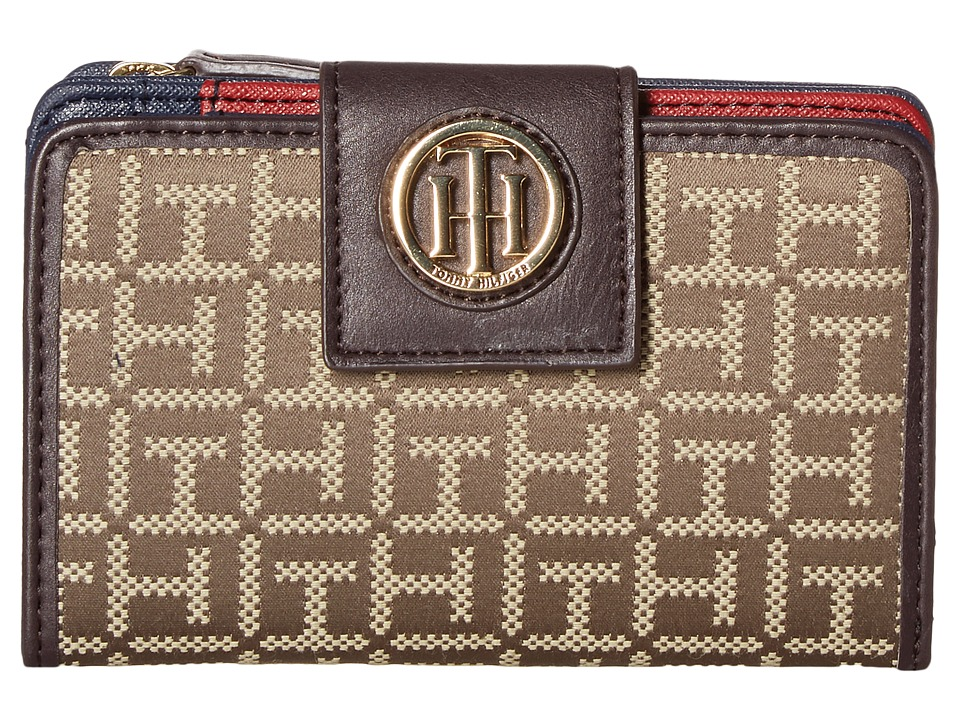 Tommy Hilfiger - TH Serif Signature - Medium Snap Flap Wallet (Tan/Dark Chocolate) Wallet Handbags