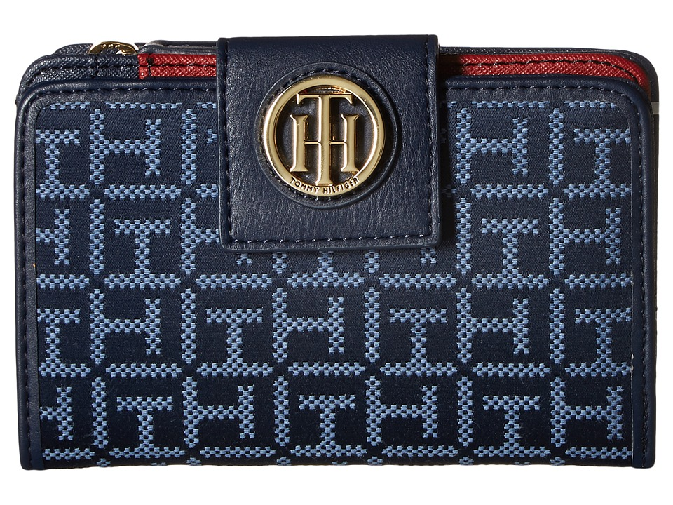 Tommy Hilfiger - TH Serif Signature - Medium Snap Flap Wallet (Navy/Lapis) Wallet Handbags