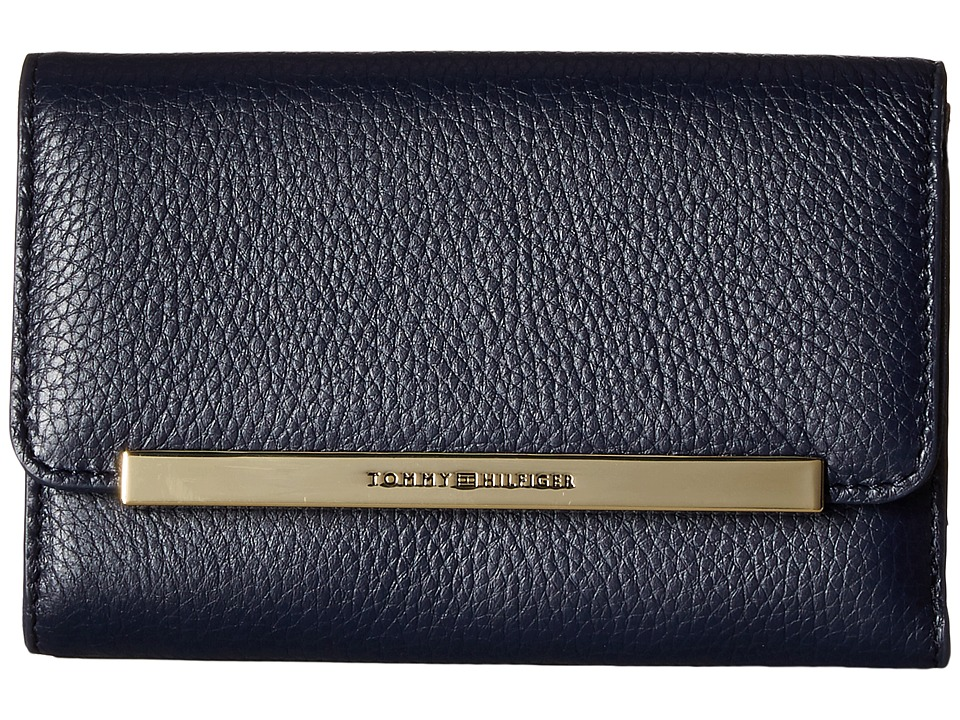 Tommy Hilfiger - TH Serif Signature - Medium Flap Wallet (Navy) Wallet Handbags