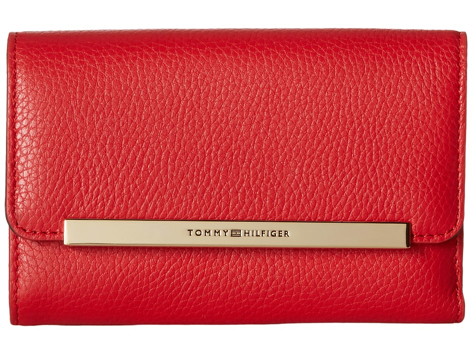 Tommy Hilfiger - TH Serif Signature - Medium Flap Wallet (Racing Red) Wallet Handbags
