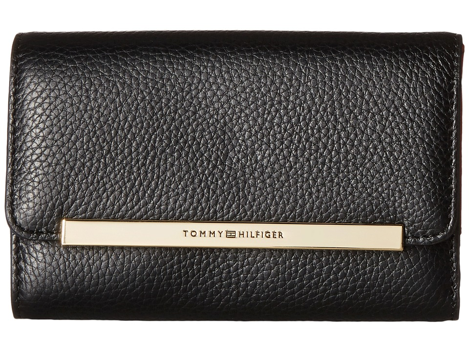 Tommy Hilfiger - TH Serif Signature - Medium Flap Wallet (Black) Wallet Handbags