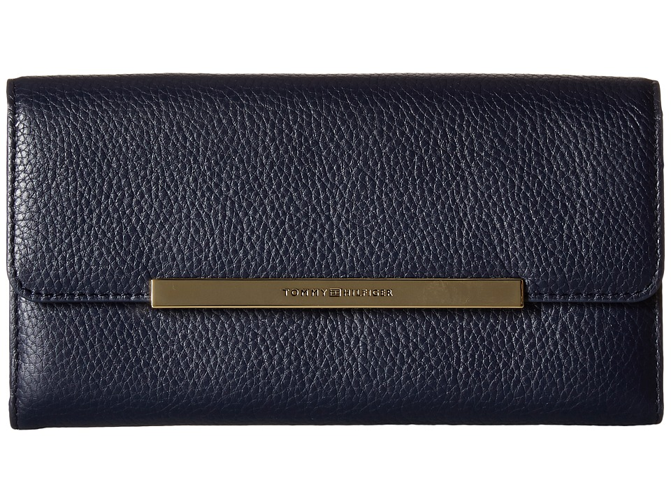 Tommy Hilfiger - TH Serif Signature - Large Flap Wallet (Navy) Wallet Handbags