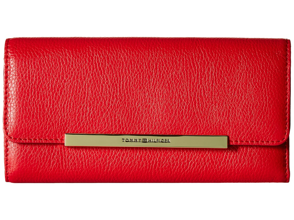 Tommy Hilfiger - TH Serif Signature - Large Flap Wallet (Racing Red) Wallet Handbags