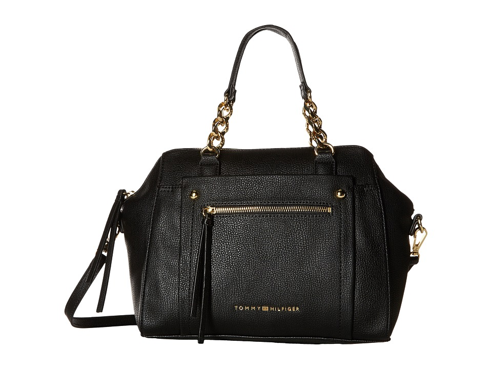 Tommy Hilfiger - Tessa - Convertible Dome Satchel (Black) Satchel Handbags