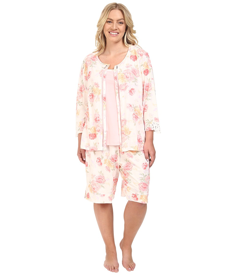 Carole Hochman - Plus Size Three-Piece Bermuda Pajama Set (Brushstroke Floral) Women's Pajama Sets