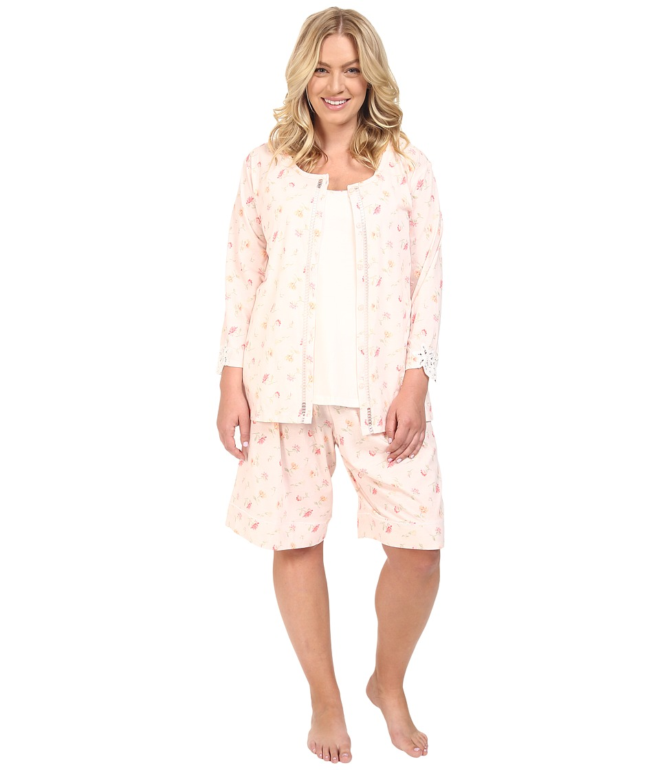 Carole Hochman - Plus Size Three-Piece Bermuda Pajama Set (Brushstroke Floral Twin Pink) Women's Pajama Sets