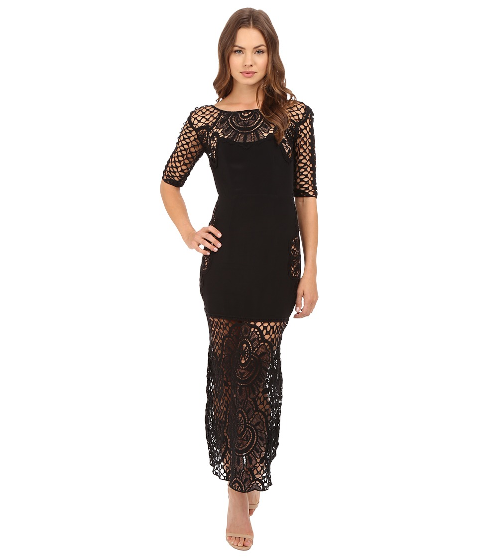 For Love and Lemons - Gracey Midi Dress (Black) Women's Dress