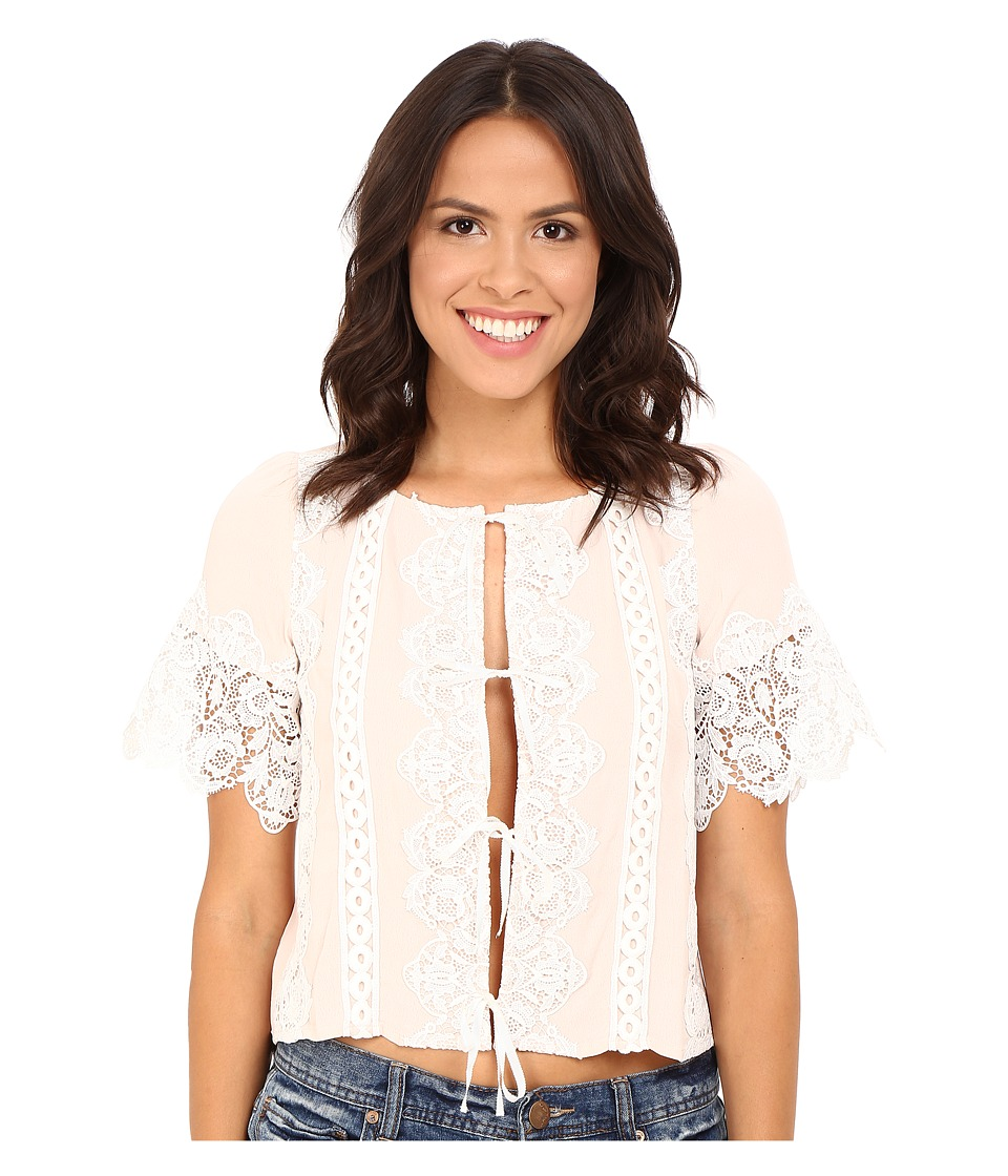 For Love and Lemons - Hayley Tie Front Blouse (Dusty Pink) Women's Blouse