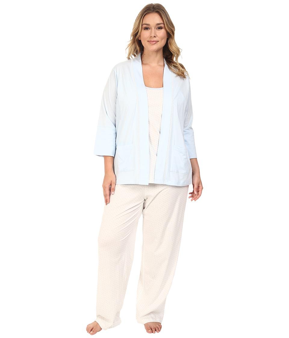 Carole Hochman - Plus Size Three-Piece Pajama Set (Blue Dot) Women's Pajama Sets