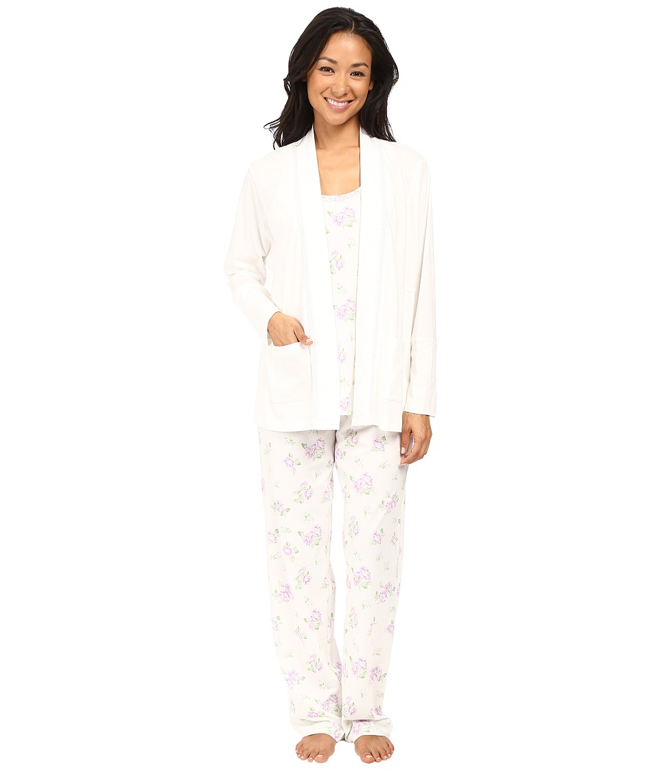 Carole Hochman - Three-Piece Pajama Set (Blossom Twin White) Women's Pajama Sets