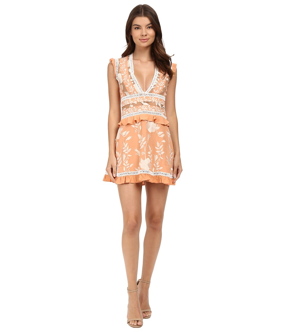 For Love and Lemons - Mia Paneled Mini Dress (Peach) Women's Dress