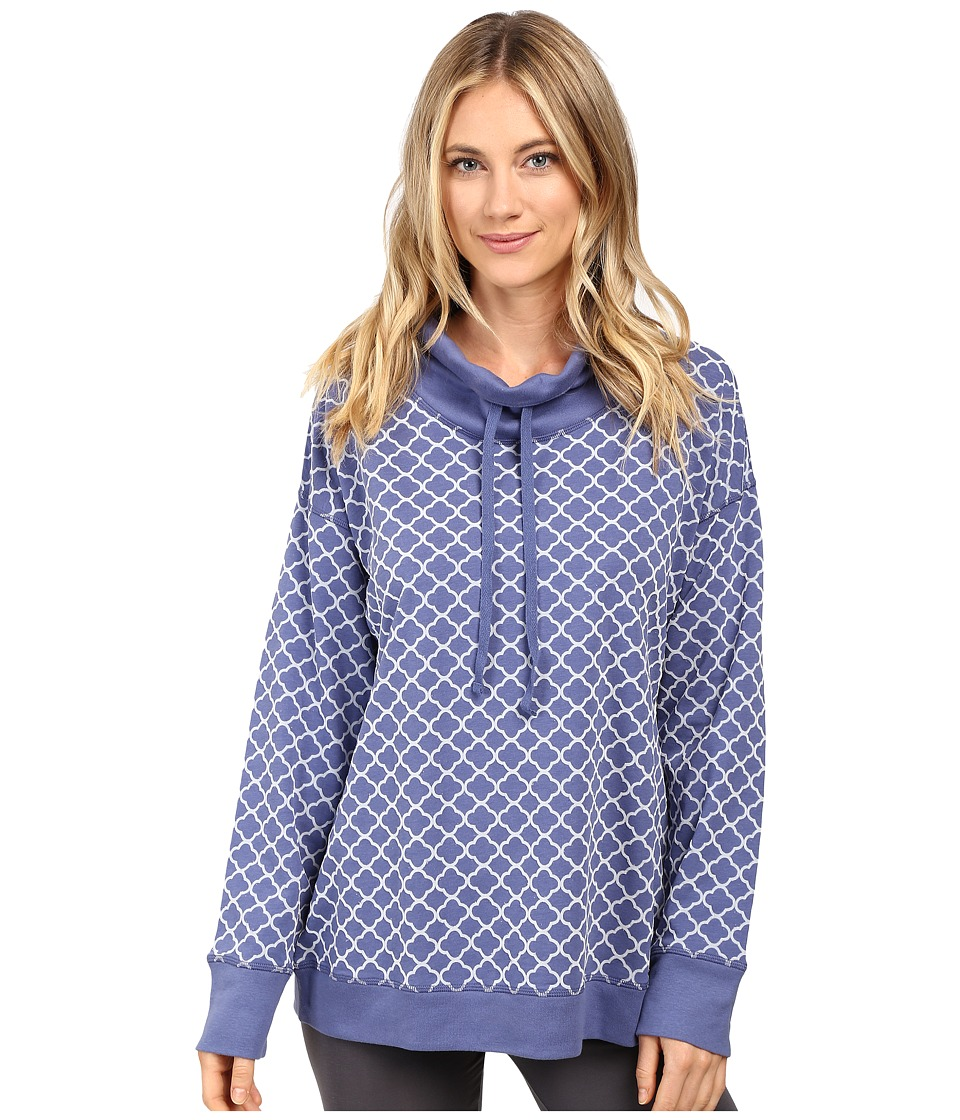 Carole Hochman - Popover Top with Flocking (Blue Medallions) Women's Pajama