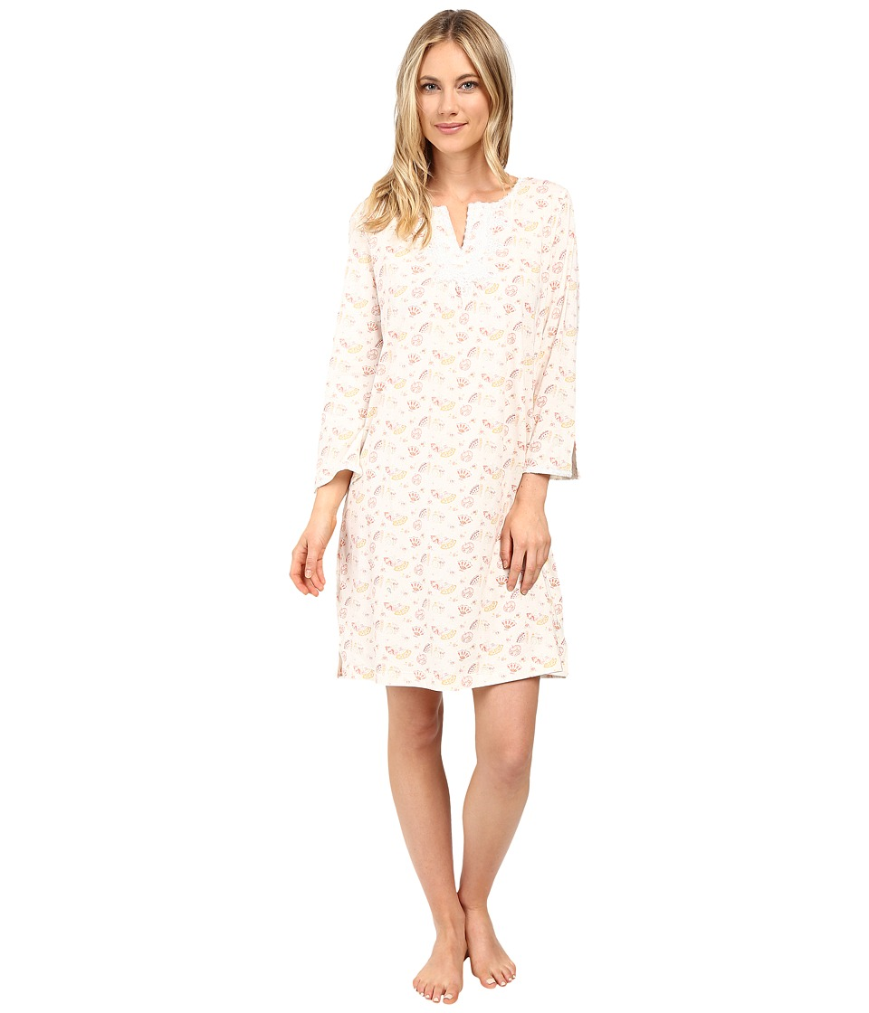Carole Hochman - Short Caftan with Venise Trim (Fans Cream) Women's Pajama