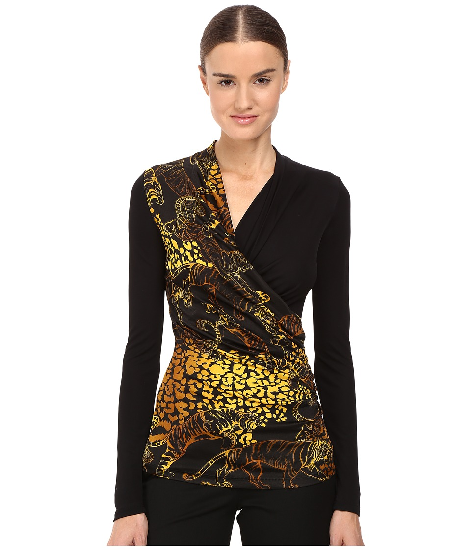 Versace Jeans - Long Sleeve Printed Wrap Top (Nero) Women's Clothing