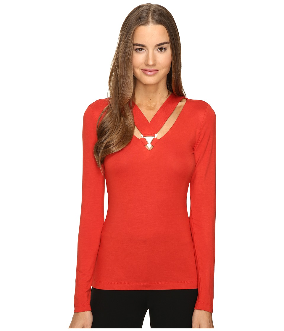 Versace Jeans - Long Sleeve Cut Out Neckline Top (Russet) Women's Clothing