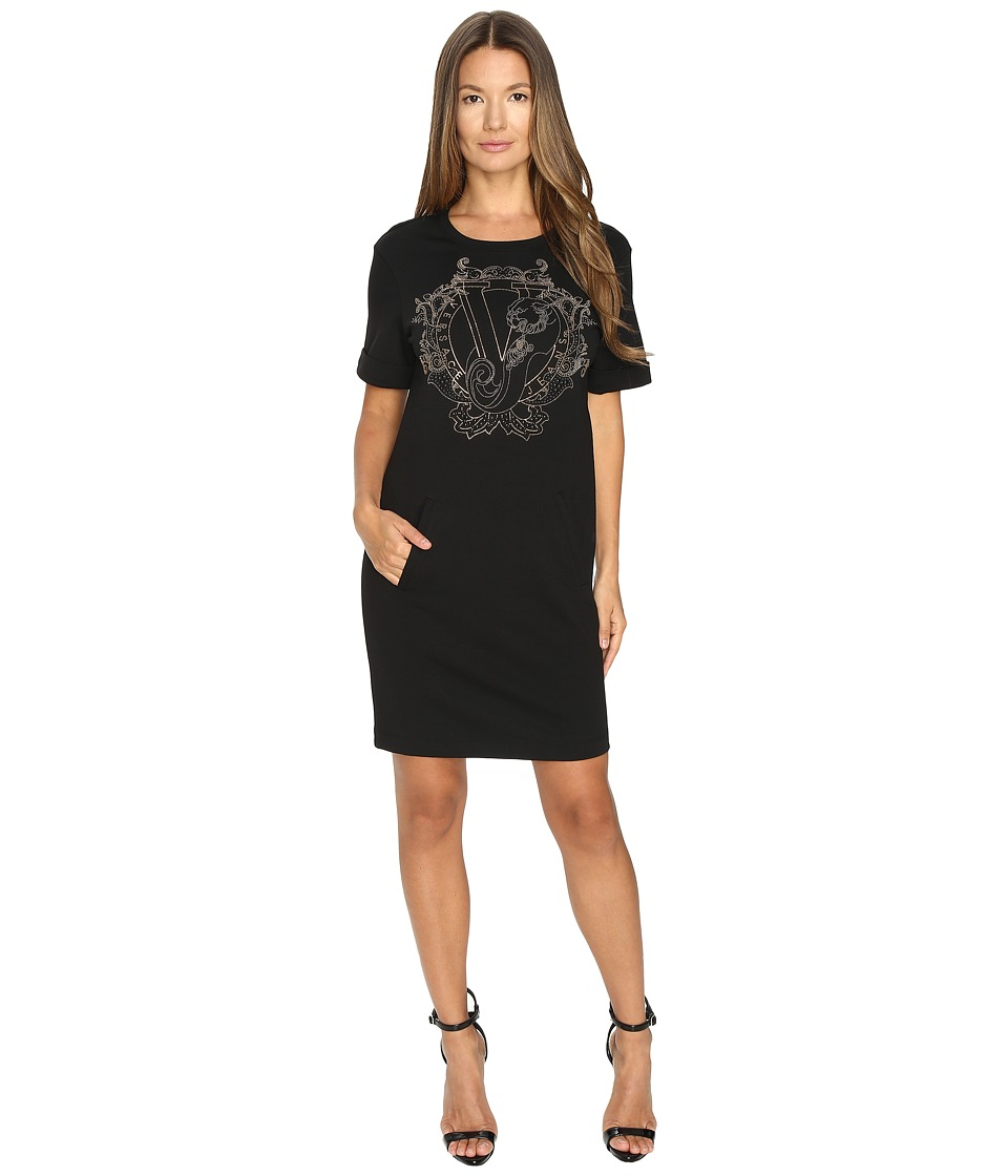 Versace Jeans Short Sleeve Gold Printed T Dress (Nero) Women