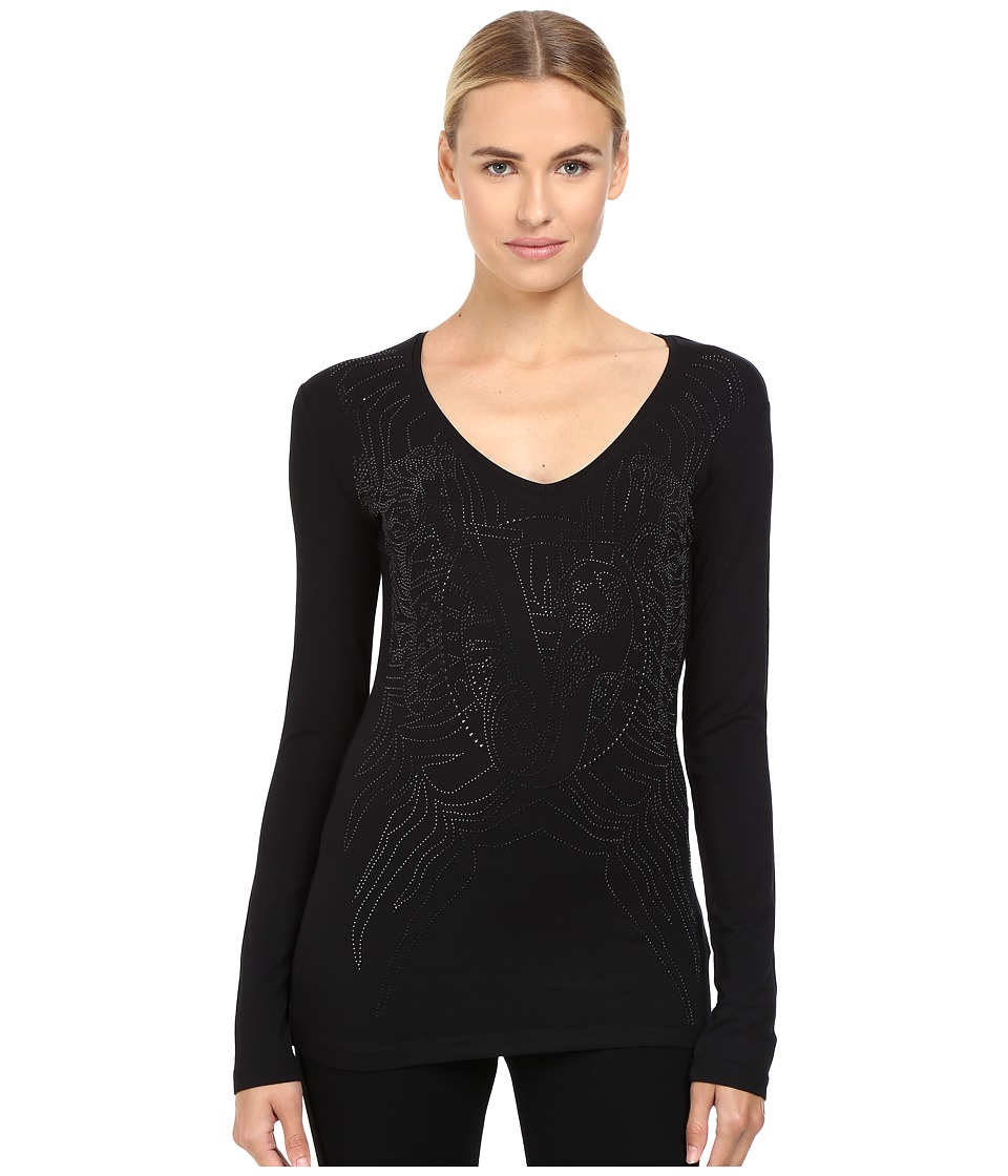 Versace Jeans - Long Sleeve Sparkles Logo Top (Nero) Women's Clothing