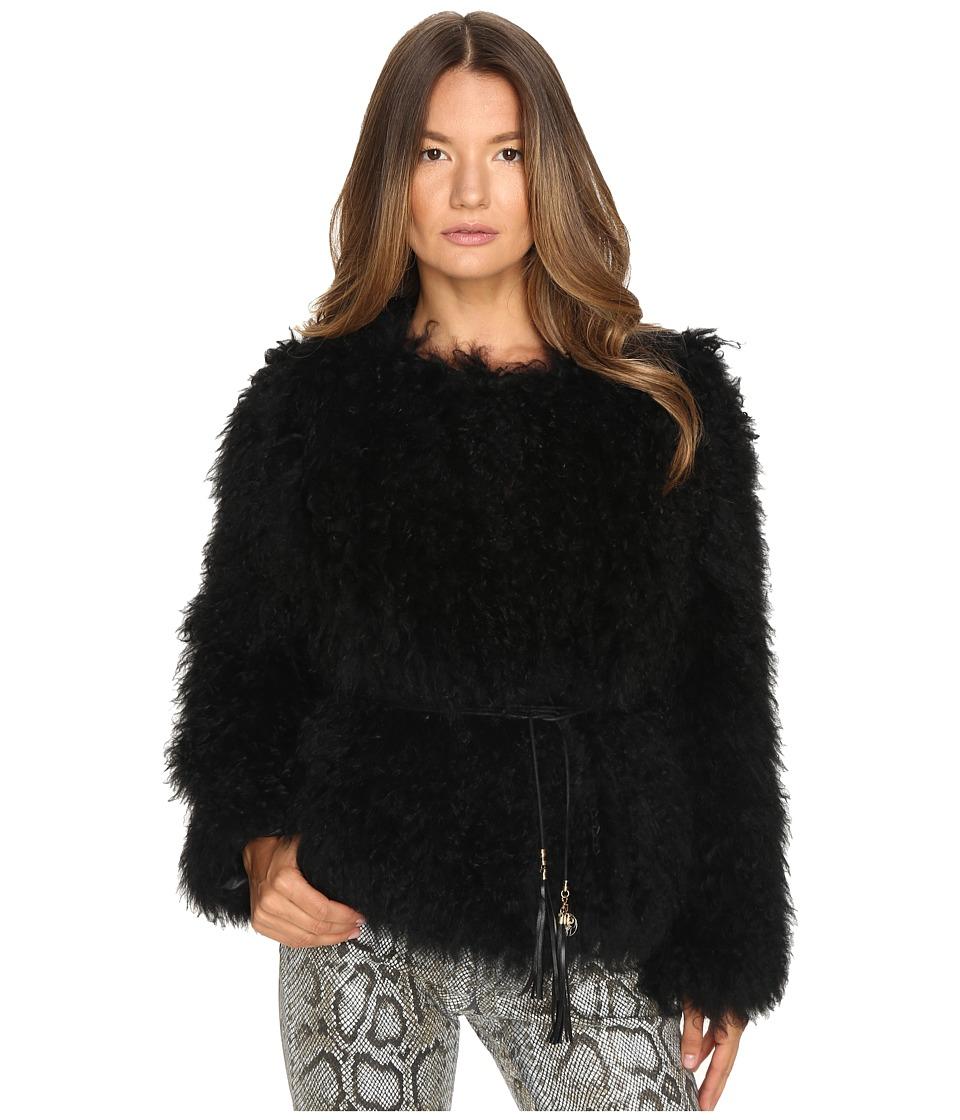 Versace Jeans - Tie Waist Fur Sweater (Nero) Women's Sweater