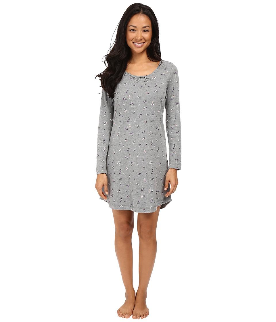 Jockey - Cotton Poly Printed Long Sleeve Sleepshirt (Ditsy On Heather Grey) Women's Pajama