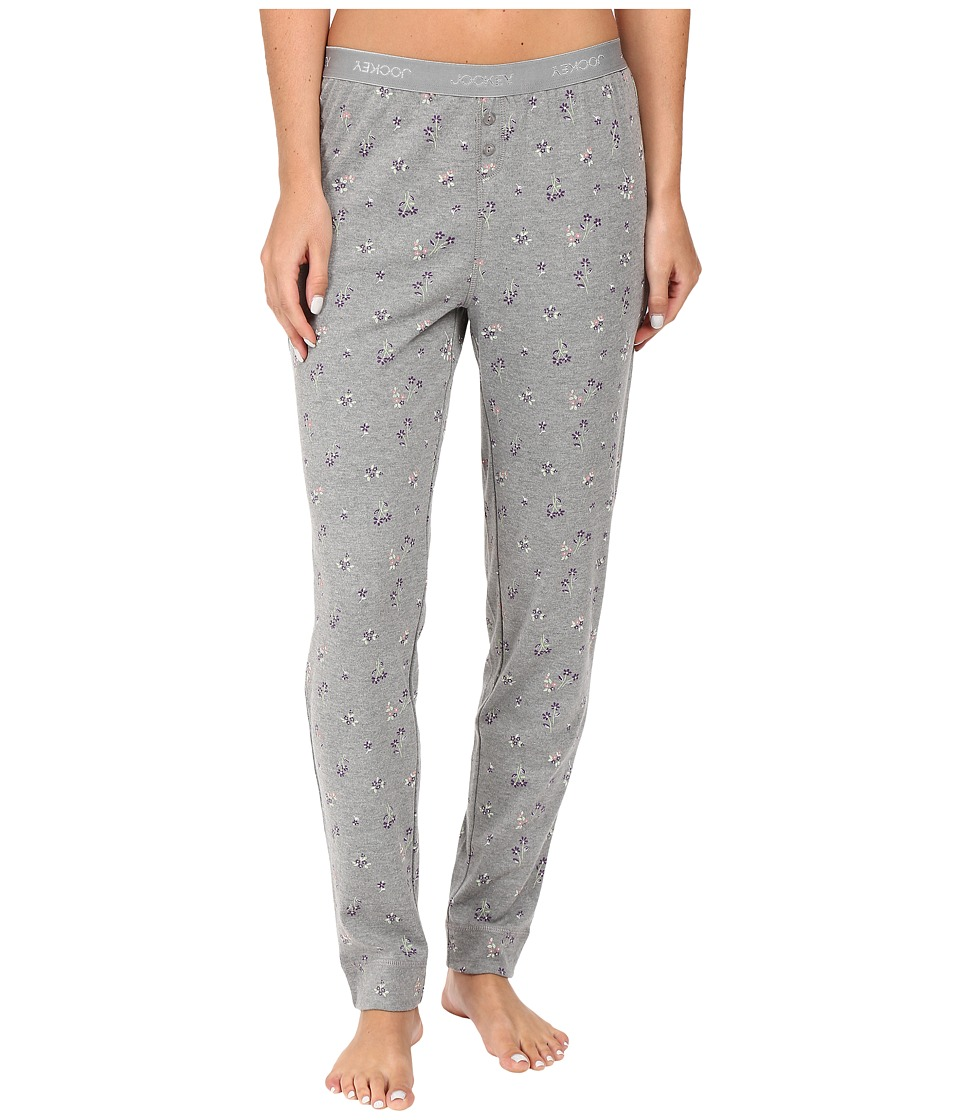 Jockey - Printed Long Pants with Logo Waistband (Ditsy On Heather Grey) Women's Pajama