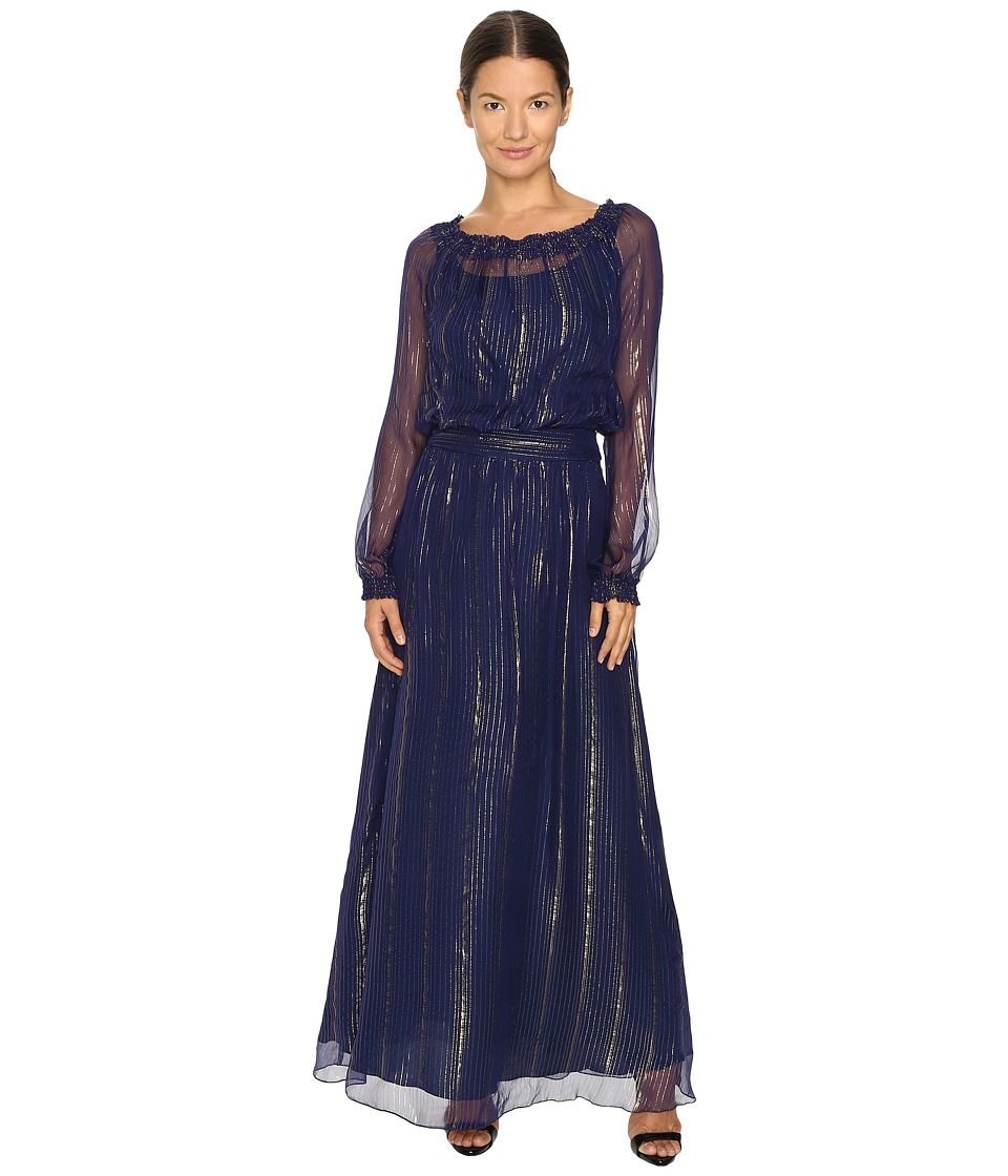 Versace Jeans Long Sleeve Gown Blue Marino Dress