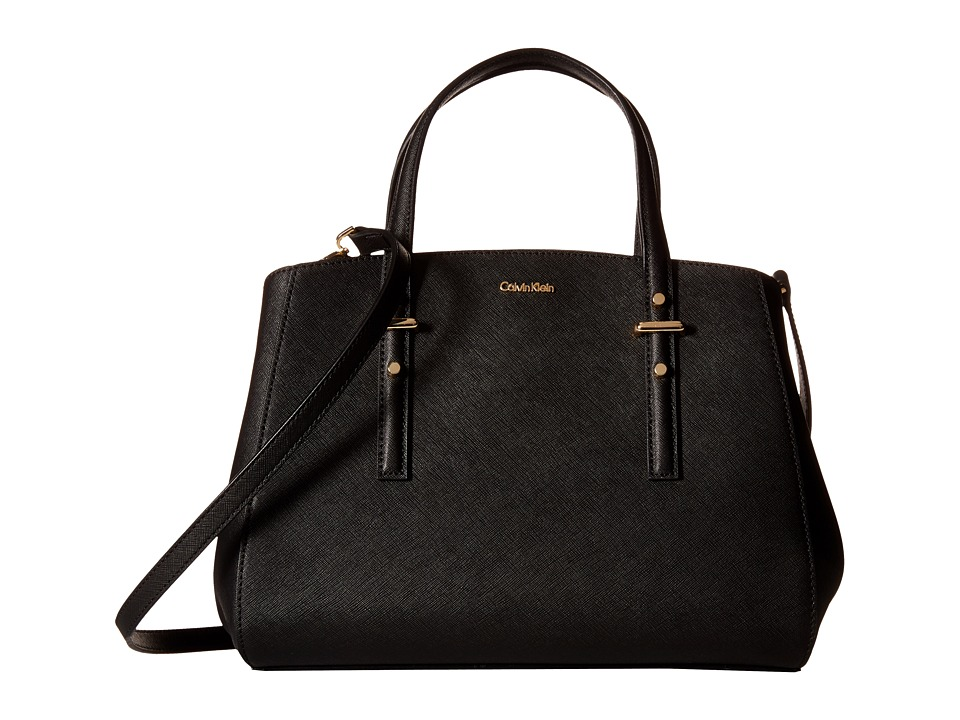 Calvin Klein - Saffiano Satchel (Black/Gold) Satchel Handbags