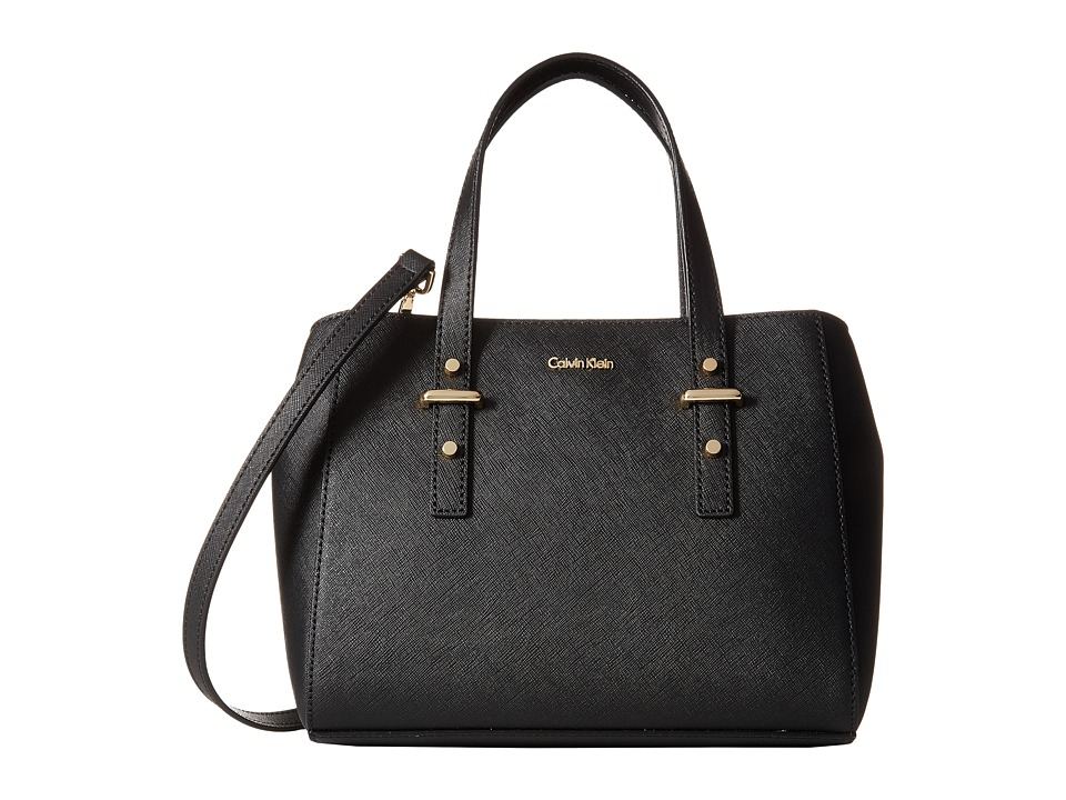 Calvin Klein - Saffiano Mini Satchel (Black/Gold) Satchel Handbags