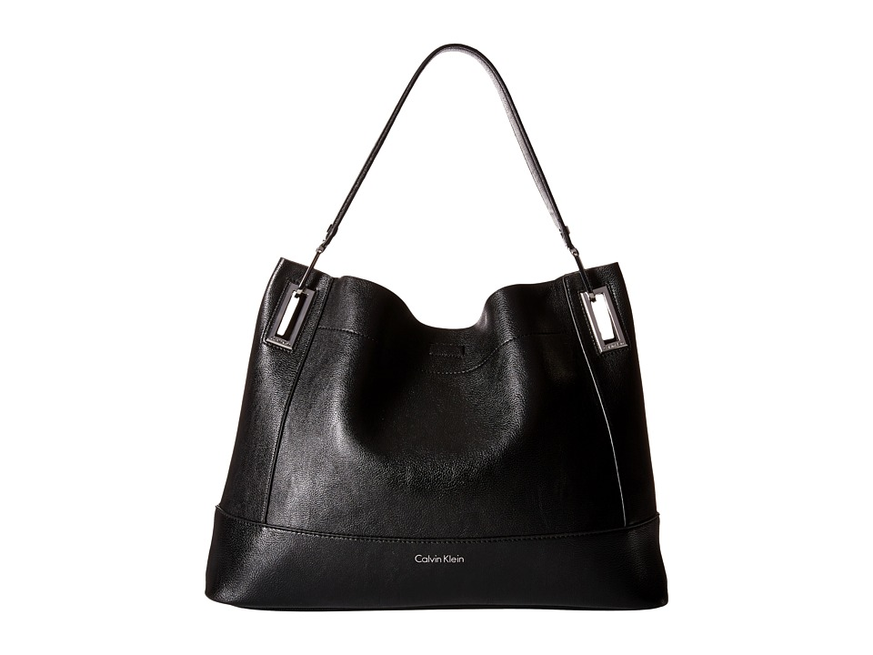 Calvin Klein - Pebble Hobo (Black/Grey) Hobo Handbags
