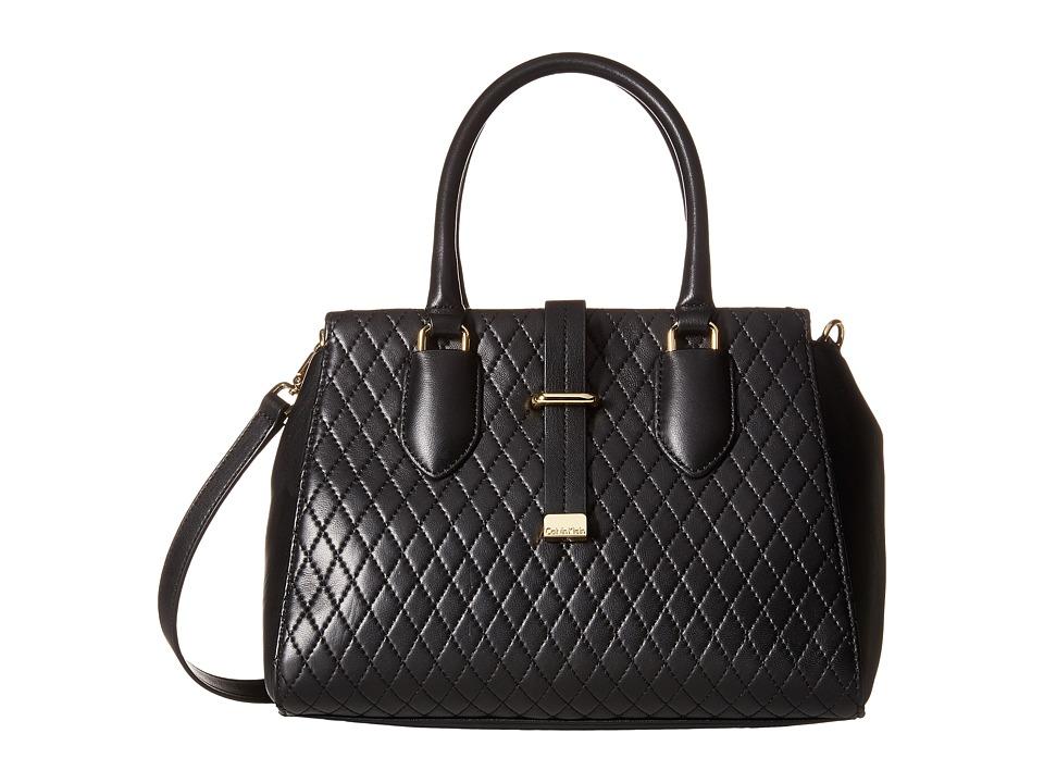 Calvin Klein - Lamb Satchel (Black/Gold) Satchel Handbags