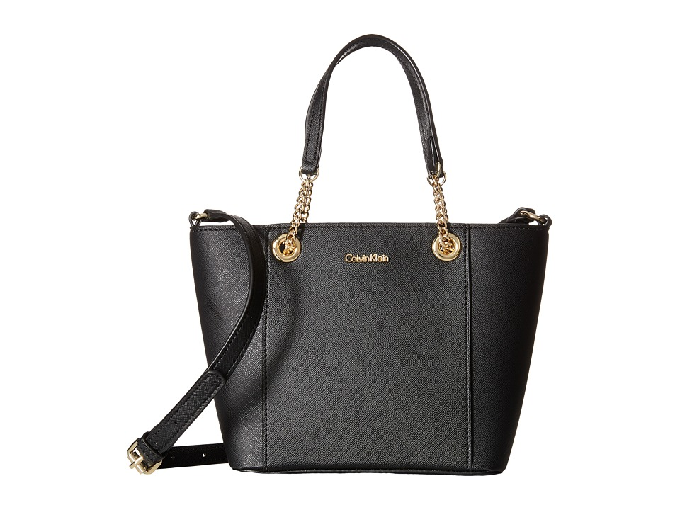 Calvin Klein - Saffiano Mini Bag (Black/Gold) Handbags