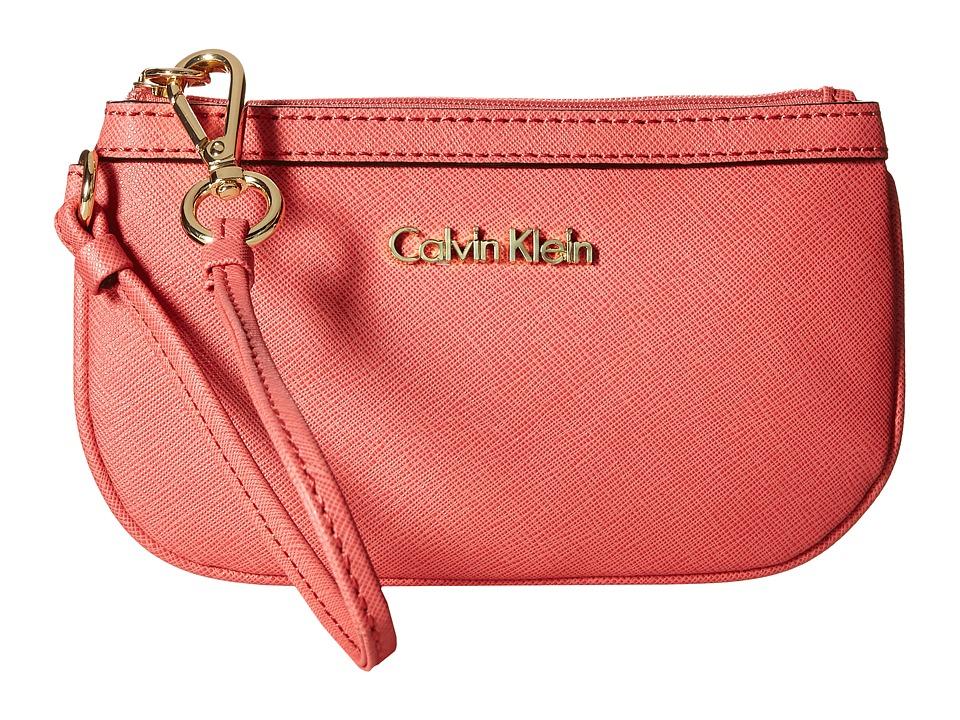 Calvin Klein - Saffiano Wristlet (Salmon) Wristlet Handbags