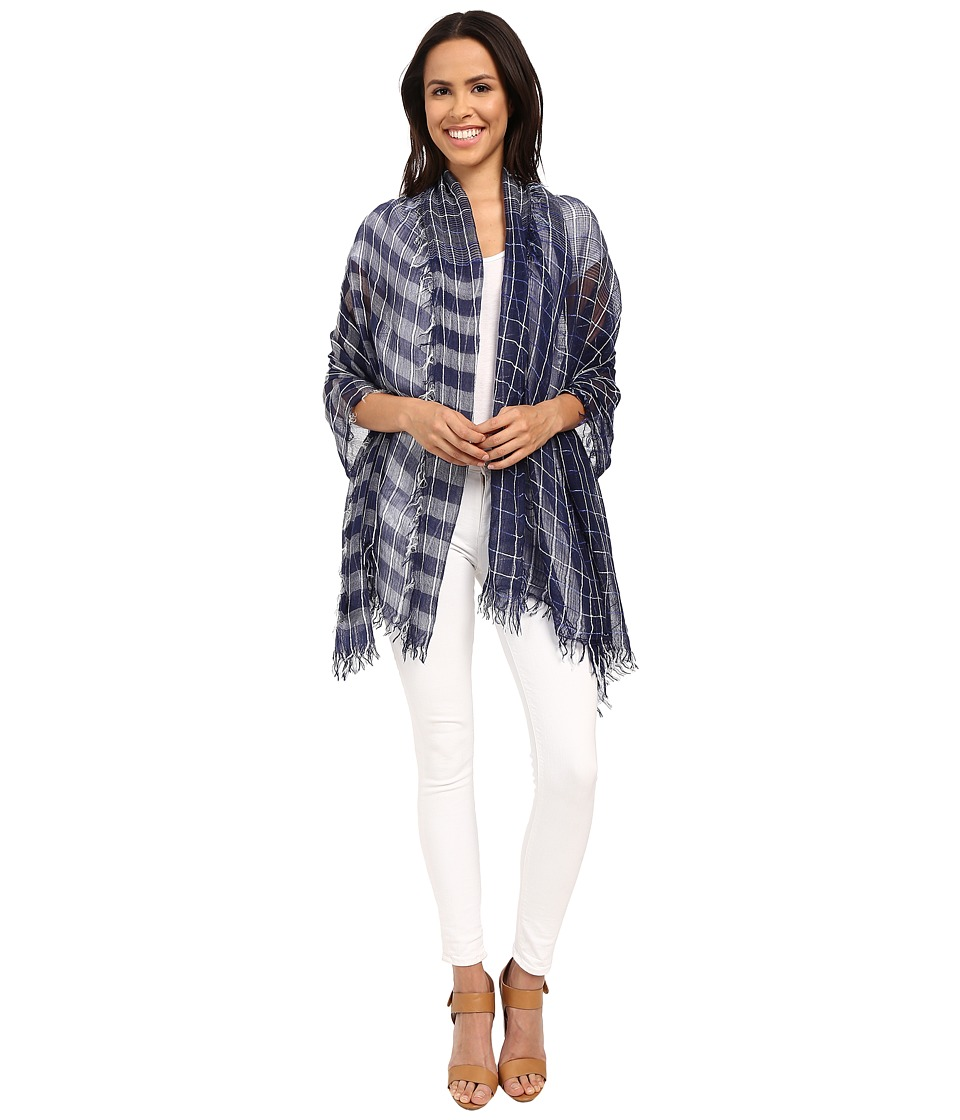 Steve Madden - Space Dye Yarn Grid Day Wrap (Navy) Scarves