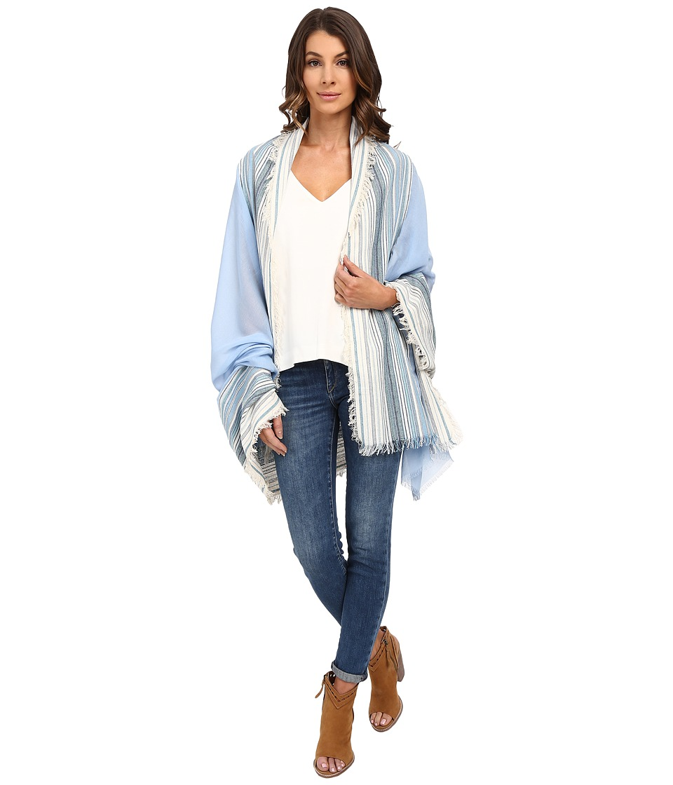 Steve Madden - Denim with Thin Stripe Day Wrap (Sky) Scarves