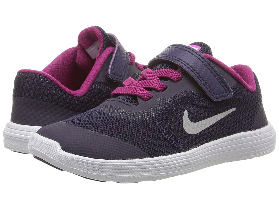 Nike Kids - Revolution 3 (Infant/Toddler) (Purple Dynasty/Dynamic Berry/Fire Pink/Metallic Silver) Girls Shoes